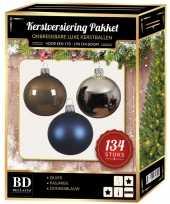134 stuks kerstballen mix zilver blauw bruin voor 180 cm boom trend