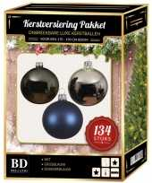 134 stuks kerstballen mix zilver grijs blauw voor 180 cm boom trend