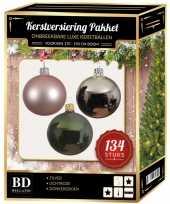 134 stuks kerstballen mix zilver roze groen voor 180 cm boom trend