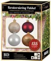 135 stuks kerstballen mix beige wit donkerrood voor 180 cm boom trend