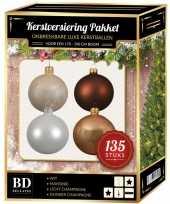 135 stuks kerstballen mix champagne wit bruin voor 180 cm boom trend