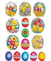 135x gekleurde paaseieren met bloemen en kuikens stickers trend