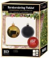 137 stuks kerstballen mix goud zwart voor 180 cm boom trend
