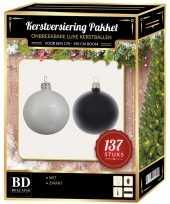 137 stuks kerstballen mix wit zwart voor 180 cm boom trend