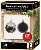 137 stuks kerstballen mix zilver zwart voor 180 cm boom trend