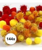 144x knutsel pompons 15 20 mm kleuren trend