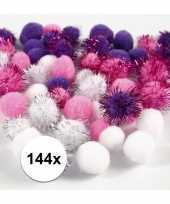 144x knutsel pompons 15 20 mm wit paars trend