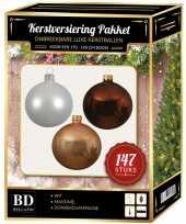 147 stuks kerstballen mix wit champagne bruin voor 180 cm boom trend