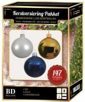 147 stuks kerstballen mix wit goud donkerblauw voor 180 cm boom trend