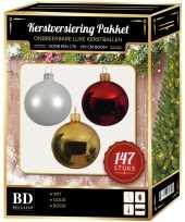 147 stuks kerstballen mix wit goud rood voor 180 cm boom trend