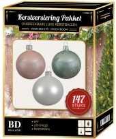 147 stuks kerstballen mix wit lichtroze mint voor 180 cm boom trend