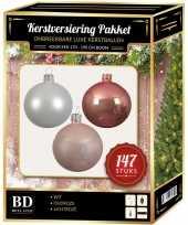 147 stuks kerstballen mix wit oud roze roze voor 180 cm boom trend