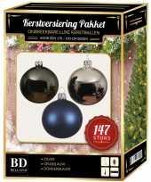 147 stuks kerstballen mix zilver grijs blauw voor 180 cm boom trend