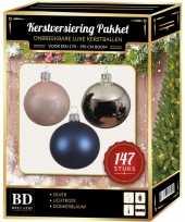 147 stuks kerstballen mix zilver roze blauw voor 180 cm boom trend