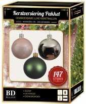 147 stuks kerstballen mix zilver roze groen voor 180 cm boom trend