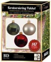 147x kerstballen mix donkergroen beige rood voor 180 cm boom trend