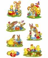 14x paashazen konijnen stickers met glitters trend