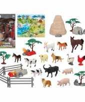 14x plastic boerderij dieren speelgoed figuren voor kinderen trend