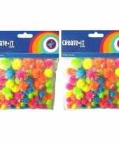 150x knutsel pompoms neon gekleurd met glitters trend