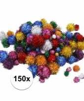 150x knutsel pompons 15 40 mm glitterkleuren trend