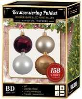 158 stuks kerstballen mix beige wit donkerrood voor 180 cm boom trend