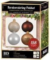 158 stuks kerstballen mix champagne wit bruin voor 180 cm boom trend