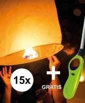 15x wensballon 50 x 100 cm incl gratis aansteker trend