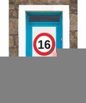 16 jaar verkeersbord deurposter a1 trend
