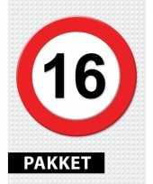 16 jarige verkeerbord decoratie pakket trend