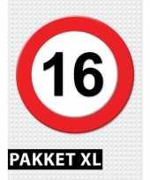 16 jarige verkeerbord decoratie pakket xl trend