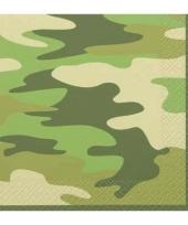 16 servetjes van papier in camouflage kleur trend