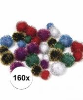 160x knutsel pompons 25 mm metalic gekleurd trend