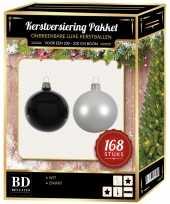 168 stuks kerstballen mix winter wit zwart voor 210 cm boom trend