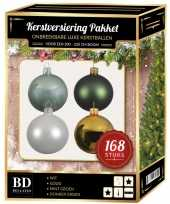 168 stuks kerstballen mix wit mint goud groen voor 210 cm boom trend