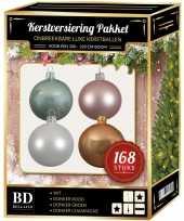 168 stuks kerstballen mix wit roze mint beige voor 210 cm boom trend