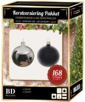 168 stuks kerstballen mix zilver zwart voor 210 cm boom trend