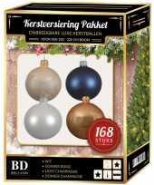 168x kerstballen mix champagne wit donkerblauw voor 210 cm boom trend