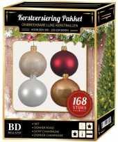 168x kerstballen mix champagne wit donkerrood voor 210 cm boom trend