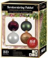 168x kerstballen mix wit beige groen donkerrood voor 210 cm boom trend