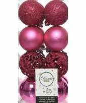 16x fuchsia roze kerstballen 6 cm kunststof mix trend