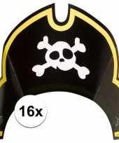 16x piraten themafeest feesthoedjes kapitein trend