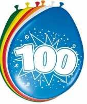 16x stuks ballonnen 100 jaar trend