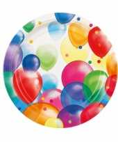 16x stuks feestbordjes met ballonnen opdruk karton 23 cm trend