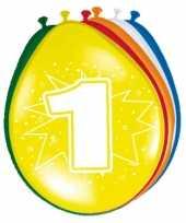 16x stuks versiering 1 jaar ballonnen 30 cm trend