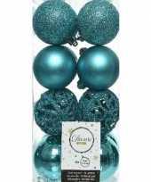 16x turkooise blauwe kerstballen 6 cm glanzende matte glitter kunststof plastic kerstversiering trend