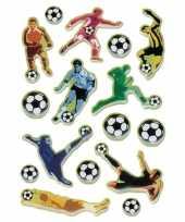 16x voetbal stickers met 3d effect met zacht kunststof trend