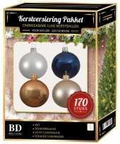 170 stuks kerstballen mix champagne wit blauw voor 210 cm boom trend