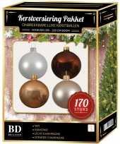 170 stuks kerstballen mix champagne wit bruin voor 210 cm boom trend