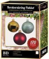 170 stuks kerstballen mix goud donkerrood mint voor 210cm boom trend