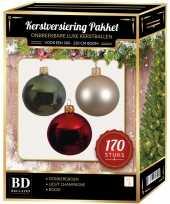 170 stuks kerstballen mix parel donkergroen rood voor 210cm boom trend